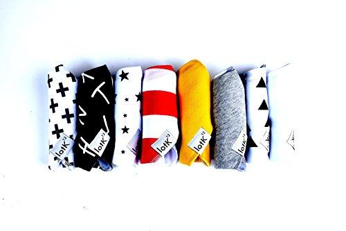 lotK12 Set of 8 100% Organic Baby Bandana Drool Bibs Wrapped in Gift Box-Unisex,Boys,Girls