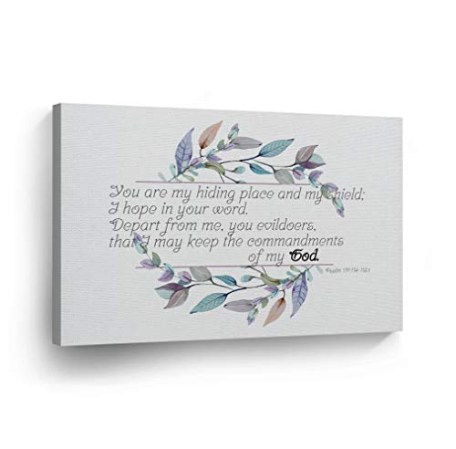 (Psalm 119:114-115:t Hiding Place and Shield Quote Watercolor Paint Wreath Scripture Wall Art Bible Verse Canvas Print Home Decor Stretched Ready to Hang-%100 Handmade in The USA-)