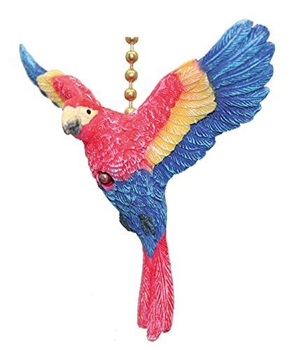 TiKi Tropical Macaw Parrot Bird Ceiling Fan Light Pull
