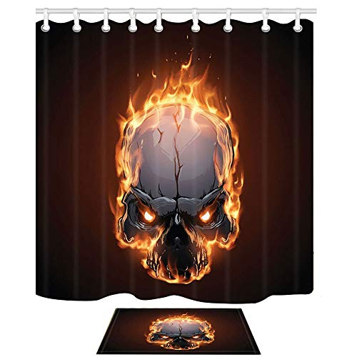 YYLZSQ Halloween Shower Curtains and Mats, Skull Monster with Burning Fire,Waterproof Polyester Fabric Bathroom Curtains 69X70 Inches and Indoor Floor Flannel Mat Bath Rugs 60x40cm -