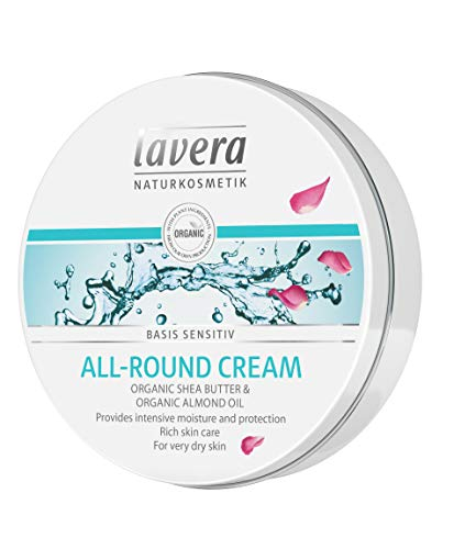 lavera basis-sensitiv All-Round Cream: Moisturizing Body Cream with Organic Aloe Vera and Vitamin E to protect dry Skin & for a soft and supple feeling - 5 Oz