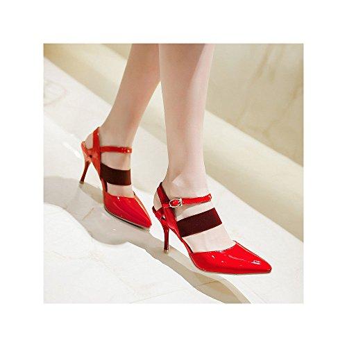 OCHENTA Talones Mujer correa de calzado de tacón 8.5cm Aiguille boda atractiva Rojo