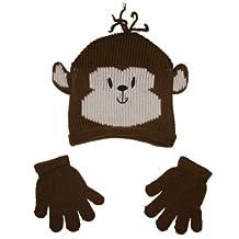 Mashed Clothing! Toddler Knit Winter Hat Cap/Gloves Set (Panda or Monkey)