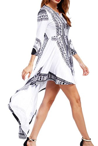 Low Print Women's Bohemia White Dress Neck Sleeve High Cromoncent Dashiki Long V I6dxndOw