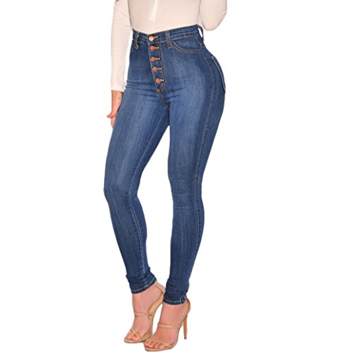 Lookwoild Women's Classic High Waist Denim Skinny Jeans Pull-On Stretch Jeans Slim Fit Pencil Pants Ankle Length Trousers (Light Blue, 2XL)