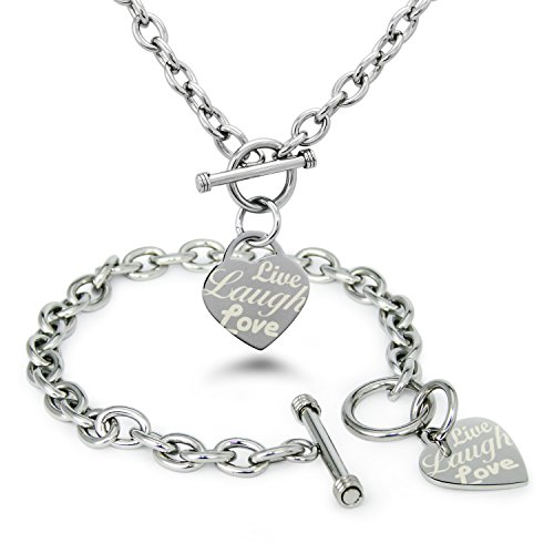 Stainless Steel Live Laugh Love Engraved Heart Tag Charm, Bracelet Necklace (Heart Tag Rolo Toggle Bracelet)