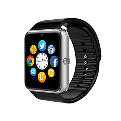 GT08 Bluetooth Smart Watch for Android Phones? Beaulyn Smart Watch with SIM Card Slot,Call,Massage,for iOS Phone and Android Phones ZTE Sony LG Smartphones, Sweatproof(Silver-Black)