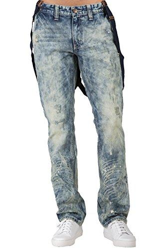 Level 7 men'slim Straight Premium Denim Distressed Acid Washed Jeans Suspenders Size 32