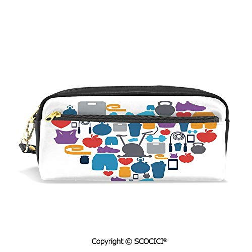 - Fasion Pencil Case Big Capacity Pencil Bag Makeup Pen Pouch Sports and Healthcare Icons Forming a Heart Shape Clean Eating Athletic Training Decorative Durable Students Stationery Pen Holder for