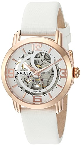 - Invicta Women's Objet d'Art Stainless Steel Automatic-self-Wind Watch with Satin Strap, White, 18 (Model: 22655)