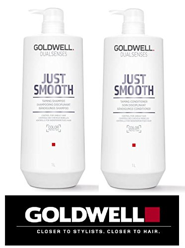 Price comparison product image Goldwell Dualsenses Just Smooth Taming Shampoo & Conditioner DUO Set (with Sleek Compact Mirror) (33 oz / 1000ml Large Kit)