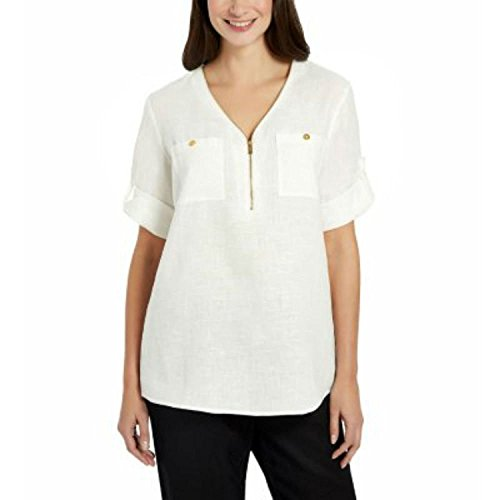 Ellen Tracy Company Ladies' Roll Tab Small Linen Tunic (Chalk)