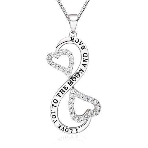 "[ACOGO Jewelry ""I Love You to the Moon and Back"" Infinity Pendant Necklace, Gift for Girls & Women,] (Big Sister Little Sister Costumes)"