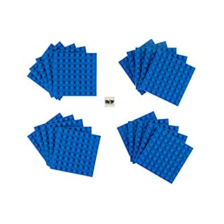 Strictly Briks Classic Briks 20 Piece Blue 8x8 Building Brick Baseplate Creative Play Set - 100% Compatible with All Major Brick Brands