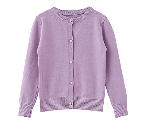 Three Cardigan Button Long (SMILING PINKER Little Girls Crewneck Cardigans Button Knitted Uniform Sweaters Solid Long Sleeves(3-4,Purple))
