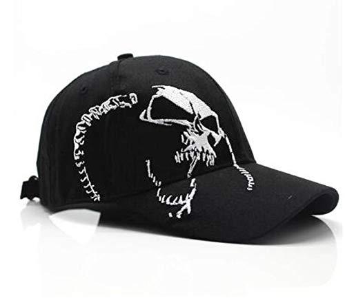 ユニセックスコットンアウトドア野球のキャップスカル刺繍スポーツ帽子男性&女性のキャップ,ブラック,調節可能な