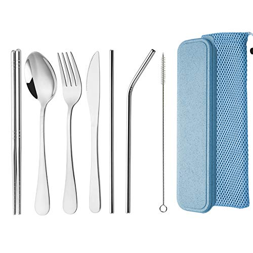 Travel Utensils,Reusable Silverware Set To Go Portable Cutlery Set with a Waterproof Carrying Case for Lunch Boxes…
