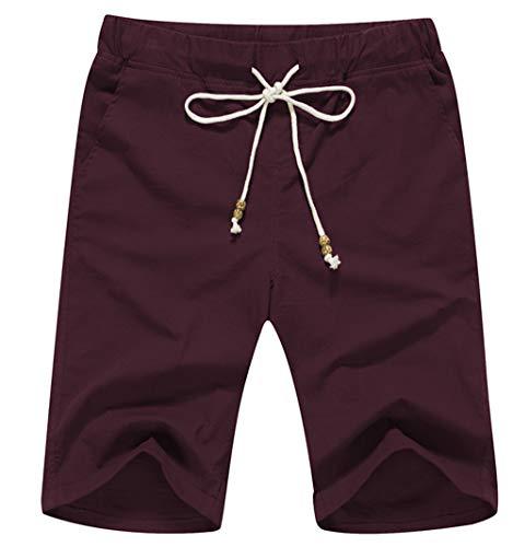 (Boisouey Men's Linen Casual Classic Fit Short Wine Red 3XL )