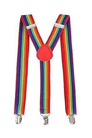 2011ce21979 Mytoptrendz® Colourful Clip-On Adjustable Elastic Pants Trouser Suspenders  Braces (Rainbow)  Amazon.co.uk  Clothing