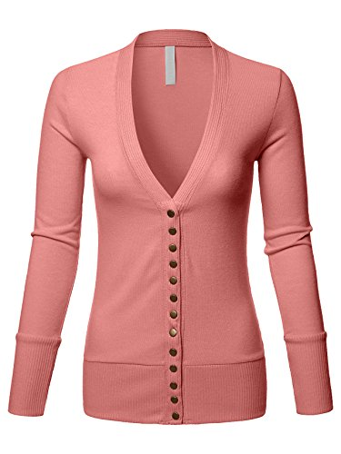 Luna Flower Women's V-Neck Snap Button Cardigan Sweater with Rib Detail(GCDW027)