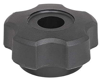 4 Knobs 1-3//4 W Black Phenolic Plastic Fluted Knob with 5//16-18 Brass Thread
