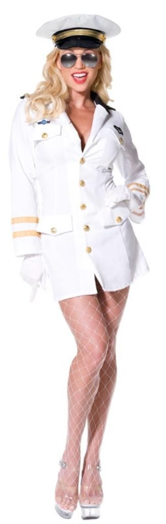 Smiffy's Top Gun Officer with Dress, Hat and Gloves - White - Sizes from 4 to 18