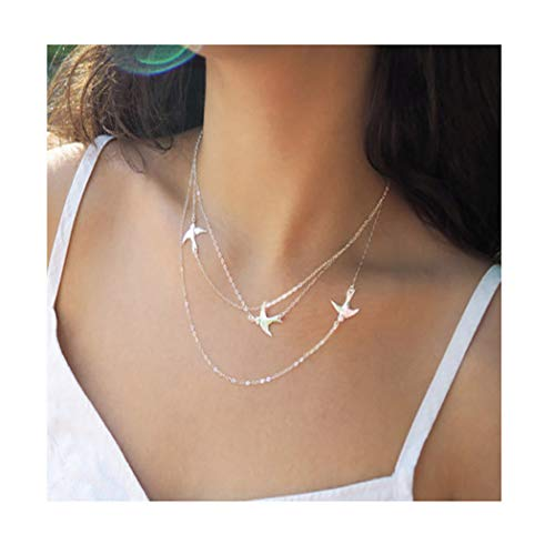 Fstrend Gypsy Layered Necklace Dainty Peace Dove Lucky Pendant Charms Necklaces Jewelry for Women and Girls (Silver)
