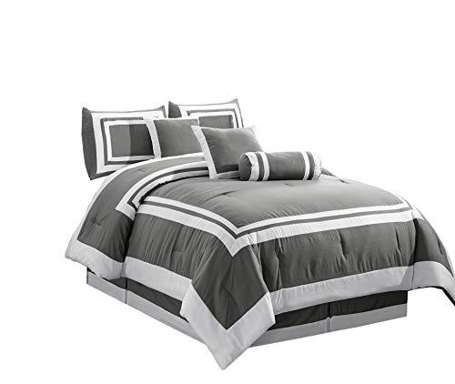 Chezmoi Collection 7 Pieces Caprice Gray/White Square Pattern Hotel Bedding Comforter Set (Full, Gray/White)
