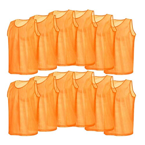 12 Pack Mesh Scrimmage Training Vests Football Vest Breathable Adults Jerseys Bibs for Volleyball Soccer Basketball (Color : Orange)