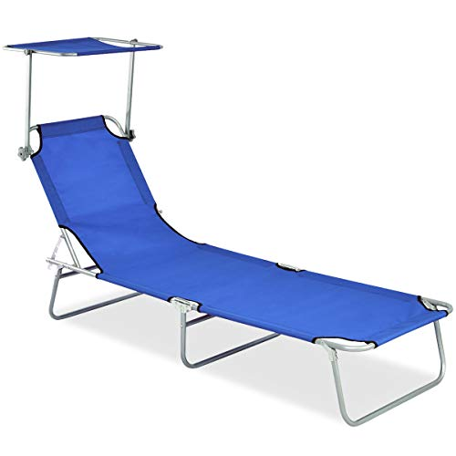 Giantex Lounge Chair Foldable and Adjustable Reclining Positions W/Sun Shade Outdoor Portable Recliner Garden Beach Patio Pool Seat (Blue) ()