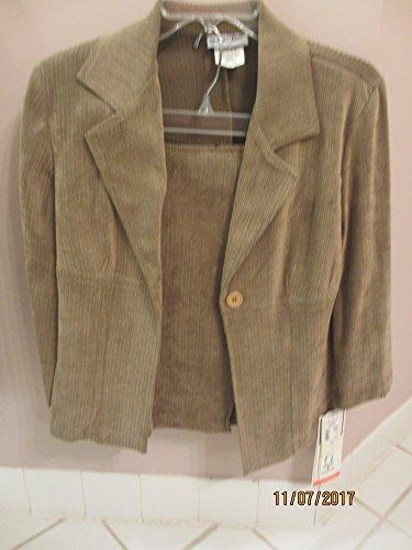 Sale New Women's Consignment, New Women's 3 Piece Blazer Suit, Women's 3 Piece Suede Suit, Olive Suede (Vintage Clothing Consignment)
