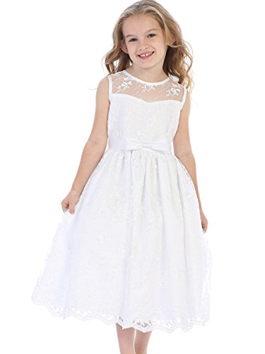 Sweet Pea & Lilli SP157 White Embroidered Tulle W/Satin Trim & Bow (8) by Sweet Pea & Lilli