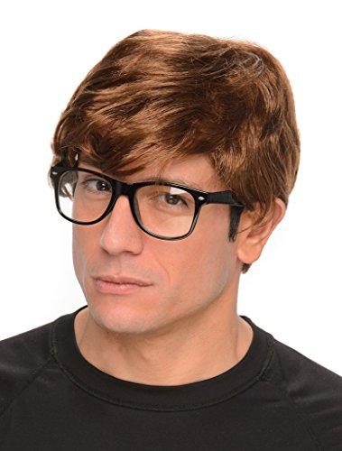 70s Glasses Costume (Men's 60s 70s Secret Agent Man Wig & Glasses - One Size)