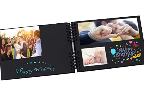 Bemece Photo Album Scrapbook with 80 Pages 12x8 inch, Photo Scrap Book Handmade DIY Album Craft Paper with 10 Metallic Marker Pens for Anniversary Birthday Friends Children Gift