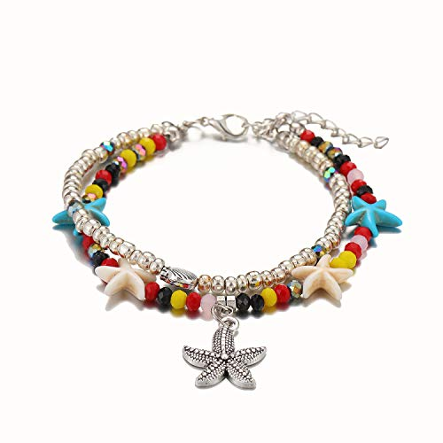 - Starain Blue Turtle Anklets for Women Girls Multilayer Beads Handmade Beach Ankle Bracelet Set Boho Foot Jewelry