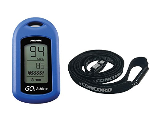 Nonin GO2 Achieve Fingertip Pulse Oximeter Blue with Concord Lanyard Combo by Concord Health Supply