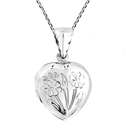 (AeraVida Heart of Floral Blossoms Locket .925 Sterling Silver Pendant Necklace)