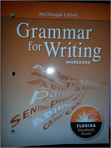 Literature Grammar for Writing Workbook Grade 9: Mcdougal ...