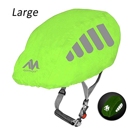 AYAMAYA Bike Helmet Cover with Reflective Strip, High Visibility Waterproof Cycling Bicycle Helmet Rain Cover Windproof Dustproof Breathable Road Bicycle Helmet Water Cover Ride Gear