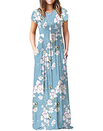 00ccad9cb9 Jouica Women's Short Sleeve Floral Dress Loose Maxi Dresses Casual Maternity  Dress with Pockets(S