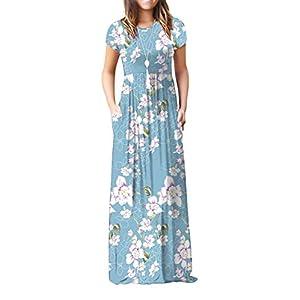 VIISHOW Women's Short Sleeve Floral Dress Loose Plain Maxi Dresses Casual Long Dresses with Pockets