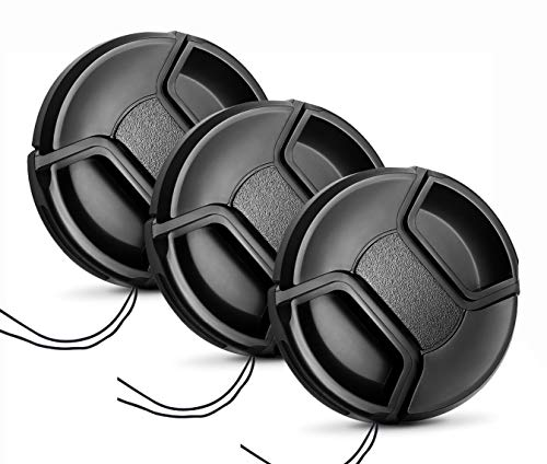 58mm Lens Cap [3 Pack], HonesThing 58mm Center Pinch Lens Cap with 8 Lens Cap Keeper Leash - Universal Camera Lens Protection Cover Compatible with Canon, Nikon, Sony and Any Other DSLR Camera
