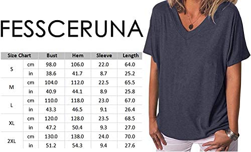 Fessceruna Womens Short Sleeve V Neck T Shirt Summer Casual Loose Solid Basic Tunic Tee Top Blouse 4