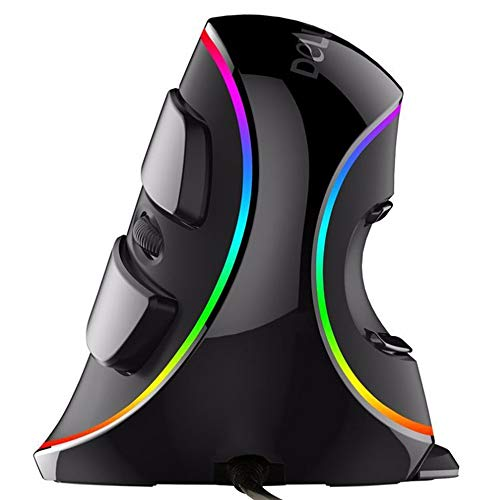 Ergonomic Vertical USB Mouse with RGB Backlit, NPET V20 Wired 7 Programmable Buttons Mouse with Removable Palm Rest, Adjustable 4000 DPI for Office, Gaming, PC, Computer Laptop by NPET