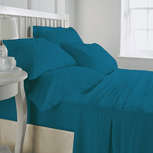 SHEET SET Luxurious Super Percale 800 Thread Count Egyptian Cotton 4 Piece Sheet Set 15 inch drop Turquoise Blue King By Kotton Culture Solid (1 Fitted Sheet 1 Flat Sheet 2 Pillow Cases) by Kotton Culture