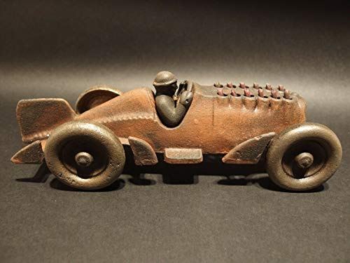 Nice1159 Antique Vintage Style Cast Iron Toy Race Car w Moving Pistons -Rare for Collectors; (Only 1 pc Left)