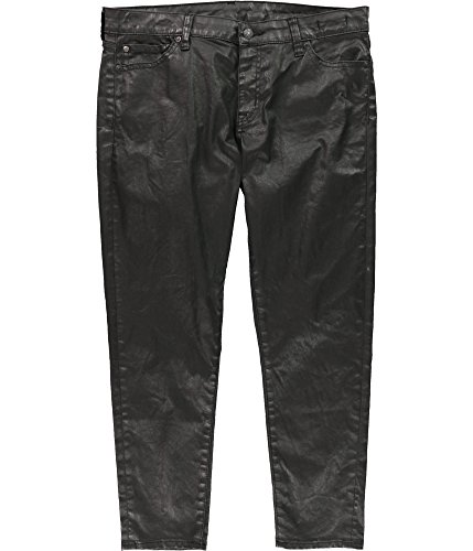 RALPH LAUREN Womens Coated Cropped Jeans Black 32x27 (Ralph Lauren Cropped Trousers)