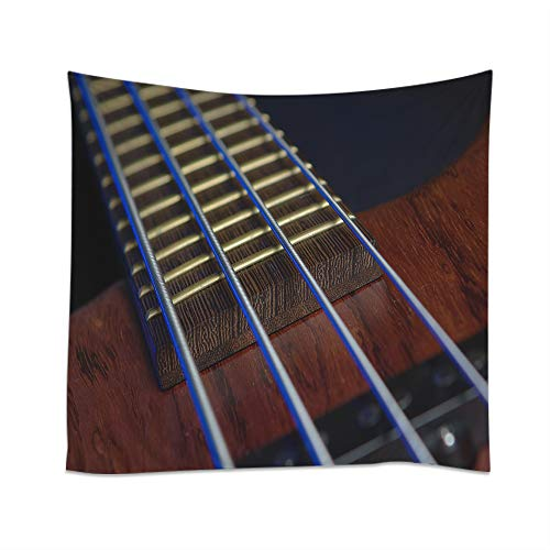 Moslion Guitar Tapestry Musical Bass Chord Stripe Wood String Wall Hanging Tapestries One Side Decorative Home Art Polyester for Living Room 60x51 Inch for $<!--$15.99-->