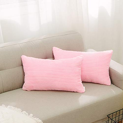 (NATUS WEAVER Set of 2 Striped Corduroy Oblong Throw Pillowcase Cushion Cover for Lumbar, 30cm x 50cm, Pink)