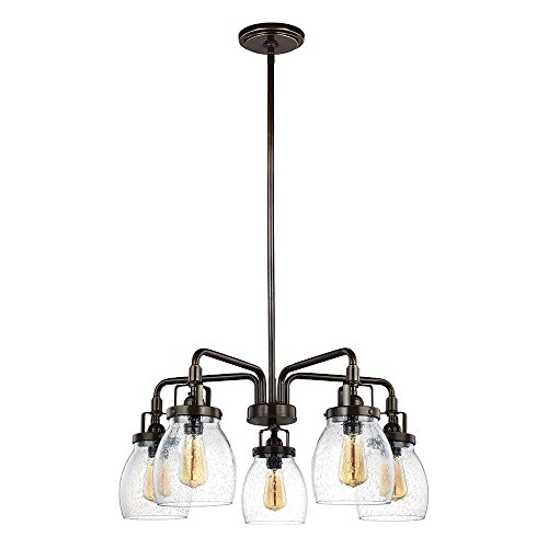 - Sea Gull Lighting 3114505-782 Belton Five-Light Chandelier with Clear Seeded Glass Shades, Heirloom Bronze Finish